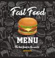 fast food sketch menu with cartoon burger vector image vector image