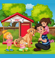 father and three girls with dog in garden vector image vector image