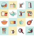 Food icons flat line set vector image vector image