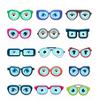 glasses with eyes cartoon eyeglass frame or vector image vector image