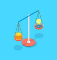 golden dollar coins and lightbulb put on scale vector image