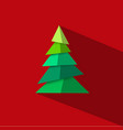 green christmas tree made paper pieces with long vector image