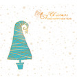 greeting card with turquoise christmas tree and vector image vector image