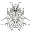 group of people kung fu fighter martial arts vector image