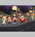 halloween city kids costumes night horror scary vector image vector image
