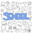 hand drawn doodle school set vector image vector image