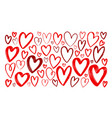 hand drawn red heart set elements sketch vector image