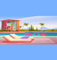 house and swimming pool with deck chairs vector image vector image