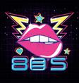 lips pop art eighties style vector image