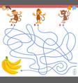 maze game with monkey characters vector image vector image