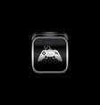 metal plate game console theme icon button vector image