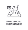 mobile social media network line icon outline vector image vector image