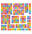 parts of puzzles on white background in colored vector image vector image
