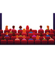 people in movie theater guys watch sitting on red vector image