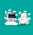 pile of paper documents and printer vector image