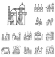 Plants and factories line icons vector image