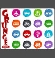 public transport icons set in grunge style vector image vector image