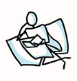 reading stick figure person sitting with book vector image vector image