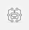 robot head line icon machine learning vector image vector image