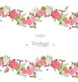 seamless border of lovely roses and butterflies vector image
