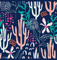 seamless tropical pattern with hand drawn cactuses vector image vector image