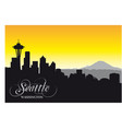 seattle city skyline black and white silhouette vector image vector image