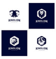 Set of lions logo design concept king lions logo