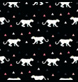 silhouette of cougar seamless black pattern vector image vector image