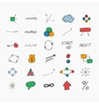 Simple colorful hand drawn icons Business and vector image