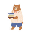 smart bear cub in clothes and glasses animalistic vector image