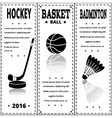Sports black prints in retro style Set of Vintage vector image