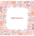 square frame of oak leaves and acorns autumn line vector image