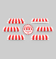 striped red and white awnings set vector image vector image