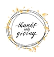 Thanks and giving text in autunm wreath with vector image