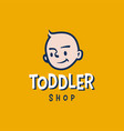 toddler baby head retro cartoon 30s logo icon vector image