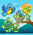 two blue birds with tree branch vector image