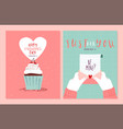 valentines day cute hand drawn love card set vector image vector image