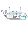 with clock router is installed in cartoon wall vector image