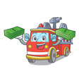 with money bag fire truck mascot cartoon vector image vector image