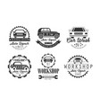 workshop auto repair service premium retro labels vector image vector image