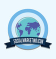 world social marketing icon emblem vector image vector image