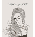young beautiful woman with tattoo vector image