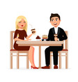 young couple drinks coffee with desserts at the vector image vector image