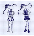 Drawn ink girl on the notebook sheet vector image