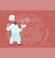 chef cook holding plate with hot soup smiling vector image
