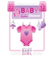 Baby shower girl invitation design with body suit vector image