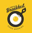 banner for breakfast time with fried egg vector image vector image