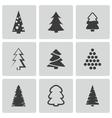 black christmas tree icons set vector image vector image