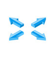 blue arrows combination shiny icons vector image