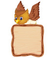 board template with cute owl on white background vector image vector image